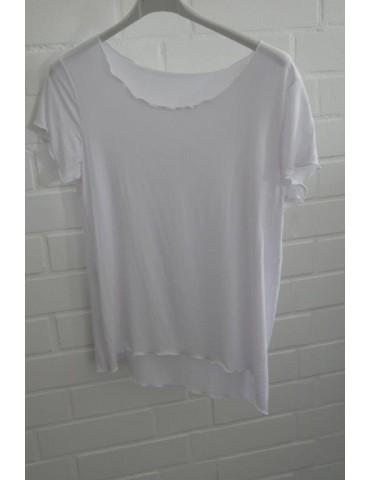 Damen Shirt kurzarm weiß white mit Viskose Onesize 36 - 40