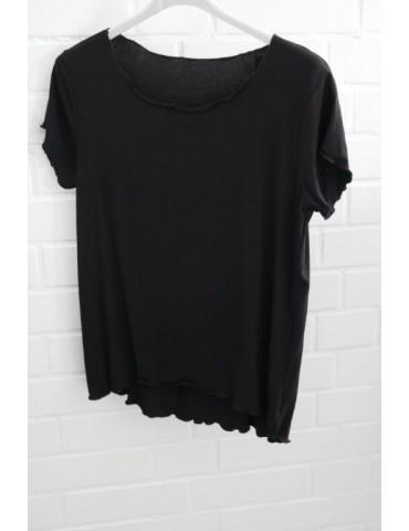 Damen Shirt kurzarm schwarz black mit Viskose Onesize 36 - 40