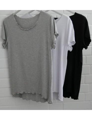 Damen Shirt kurzarm hellgrau grau mit Viskose...