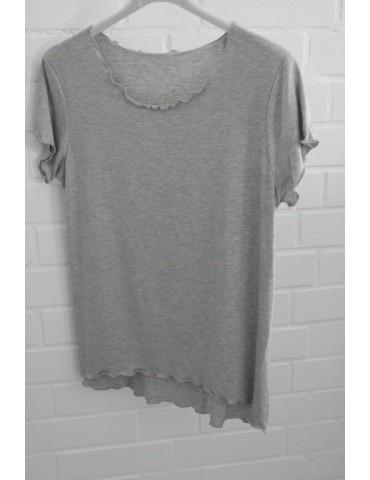 Damen Shirt kurzarm hellgrau meliert mit Viskose Wellen Onesize 36 - 40