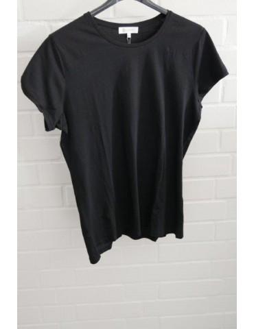Damen Shirt kurzarm schwarz black mit Baumwolle Verschiedene Größen