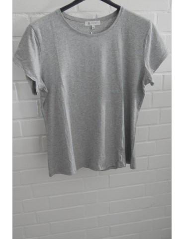 Damen Shirt kurzarm hellgrau grau meliert mit Baumwolle Verschiedene Größen