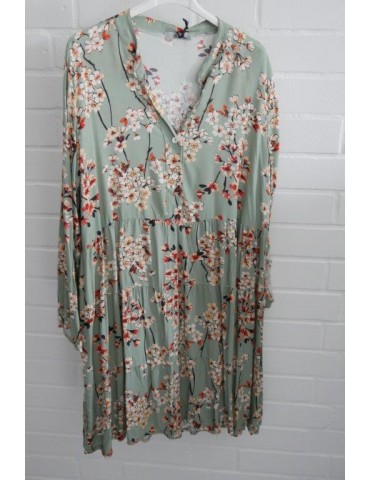 """Damen Tunika Kleid """"Japan Flower"""" A-Form lindgrün orange bunt Blumen Onesize ca. 38 - 42"""
