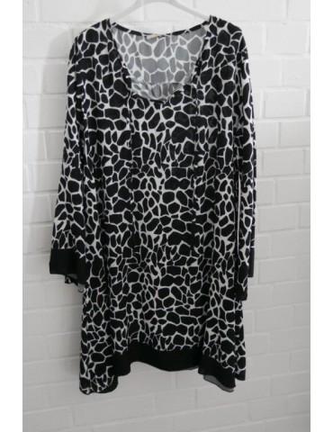 Damen Tunika Kleid A-Form schwarz creme Trompeten Ärmel Giraffe Onesize ca. 36 - 40