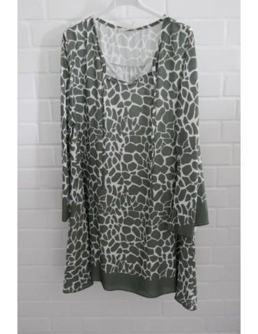 Damen Tunika Kleid A-Form khaki oliv creme Trompeten Ärmel Giraffe Onesize ca. 36 - 40