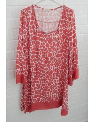 Damen Tunika Kleid A-Form koralle creme Trompeten Ärmel Giraffe Onesize ca. 36 - 40