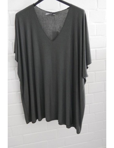 Damen Basic Shirt kurzarm anthrazit grau uni  mit Viskose Onesize ca. 38 - 46
