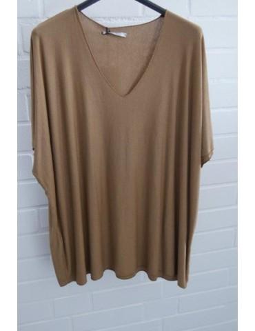 Damen Basic Shirt kurzarm cognac braun uni  mit Viskose Onesize ca. 38 - 46