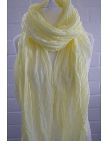 XXL Damen Schal Tuch zitronen gelb verwaschen 100% Baumwolle Asymmetrisch
