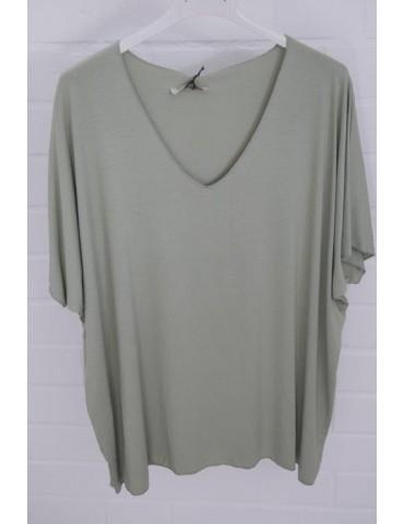 Damen Basic Shirt kurzarm lindgrün grün uni mit Viskose Onesize ca. 38 - 46