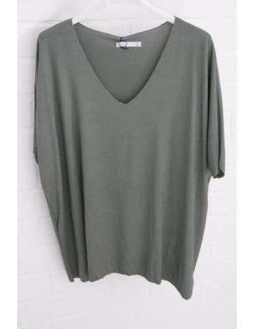 Damen Basic Shirt kurzarm khaki oliv grün uni mit Viskose Onesize ca. 38 - 46