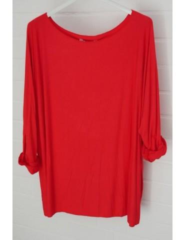 Damen Basic Shirt langarm Rundhals rot red uni mit Viskose Onesize ca. 38 - 46