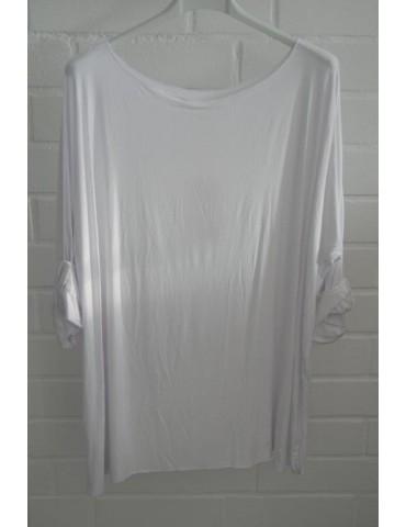 Damen Basic Shirt langarm Rundhals weiß white uni mit Viskose Onesize ca. 38 - 46