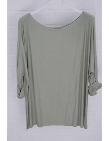 Damen Basic Shirt langarm Rundhals lindgrün grün uni mit Viskose Onesize ca. 38 - 46