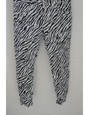 Jewelly Damen Hose schwarz weiß Zebra Animal Print JW 9233