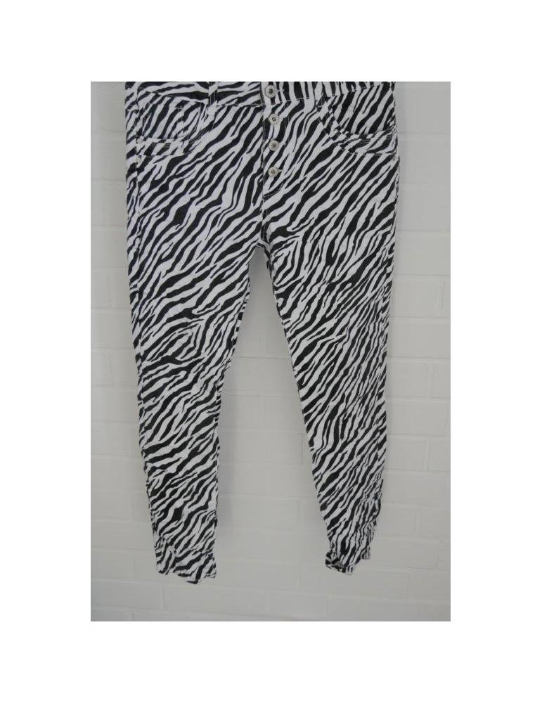 Jewelly Damen Hose schwarz weiß Zebra Animal Print JW 9233