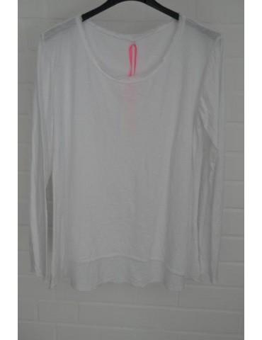 Damen Basic Shirt langarm weiß white uni mit Baumwolle Onesize 38 - 44 Rollstoff