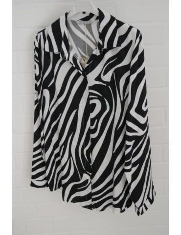 Trendige Damen Bluse schwarz weiß Zebra Animal Print Onesize ca. 38 - 42