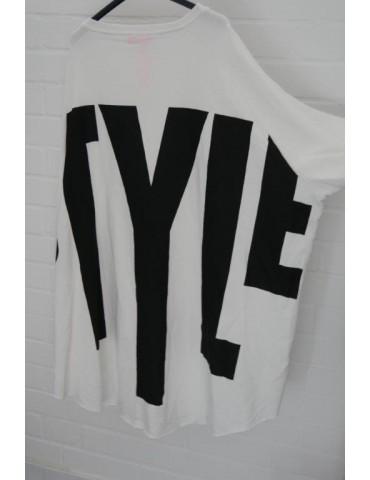 "Big Size Sweat Shirt langarm creme schwarz ""Style"" mit Baumwolle Onesize 38 - 50"
