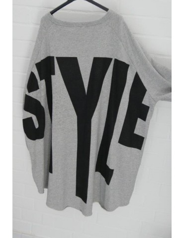 "XXXL Big Size Sweat Shirt langarm  hellgrau meliert schwarz ""Style"" mit Baumwolle Onesize 38 - 50"