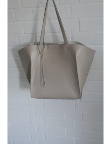 Damen Tasche Schultertasche Echtes Leder beige Made in Italy