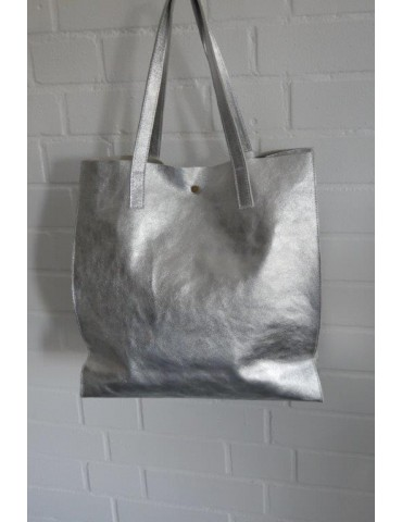 Damen Tasche Schultertasche Echtes Leder silber metallic Made in Italy