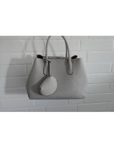 Damen Tasche Schultertasche Kunststoff hellgrau Made in Italy