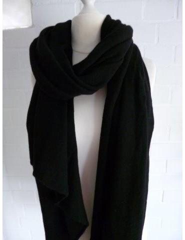 Schal Stola Poncho Feinstrick schwarz uni mit Kaschmir Made in Italy