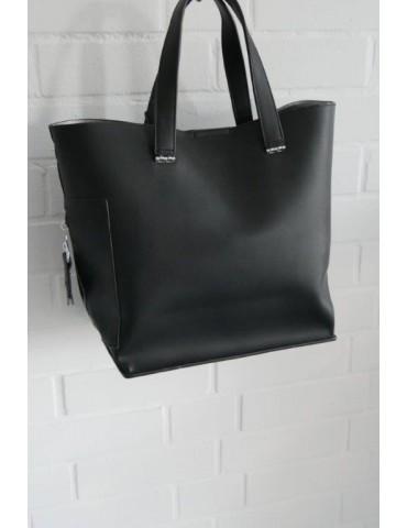 Damen Tasche Schultertasche Kunststoff schwarz black Made in Italy