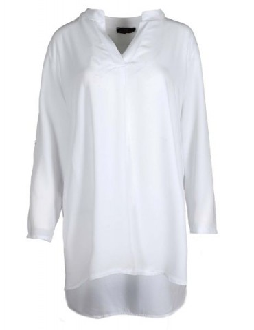 Zwillingsherz Damen Tunika Bluse Shirt weiß white Viskose