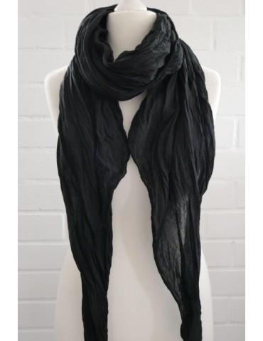 XXL Damen Schal Tuch schwarz black verwaschen 100% Baumwolle Asymmetrisch