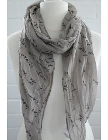 Schal Tuch Loop Made in Italy Seide Baumwolle taupe schwarz Schrift