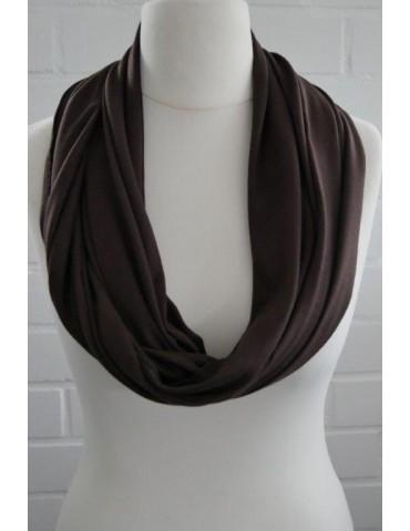Damen Jersey Loop Schal Tuch braun brown uni mit Baumwolle