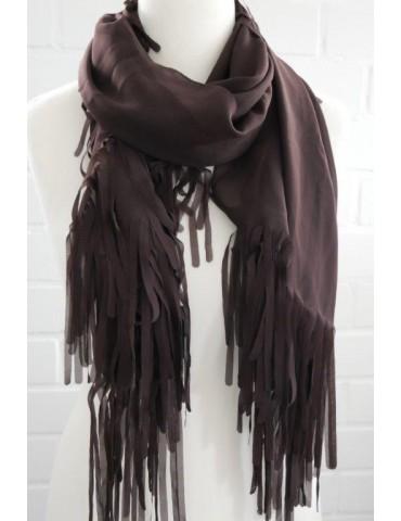 Leichter Damen Schal Tuch braun brown uni edel