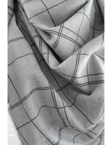 Dreieckstuch Schal grau schwarz Karo Trotteln...