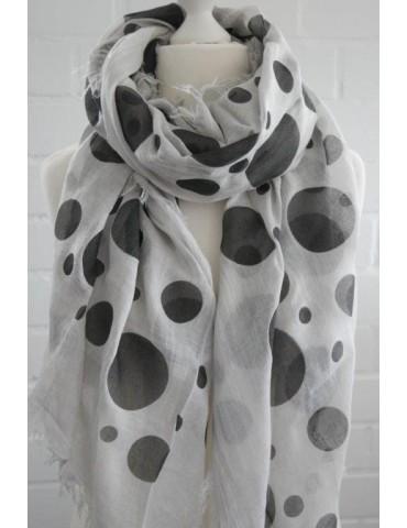 Leichter Damen Schal Tuch hellgrau schwarz Punkte Modal