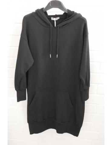 ESViViD Damen Sweat Shirt Tunika Kleid mit Kapuze schwarz black Onesize ca. 36 - 40