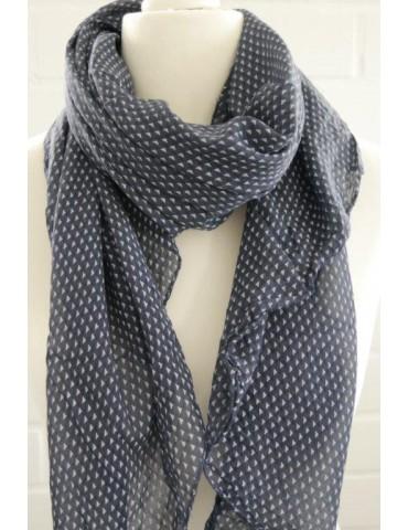 Schal Tuch Loop Made in Italy Seide Baumwolle dunkelblau weiß Rechtecke