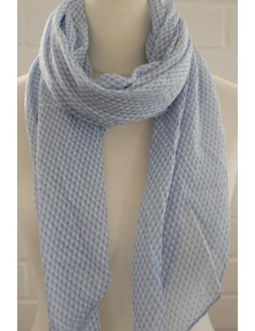 Schal Tuch Loop Made in Italy Seide Baumwolle hellblau blau weiß Rechtecke