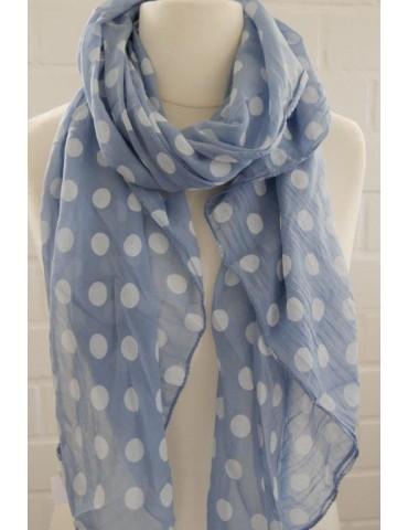 Schal Tuch Loop Made in Italy Seide Baumwolle jeansblau weiß Punkte