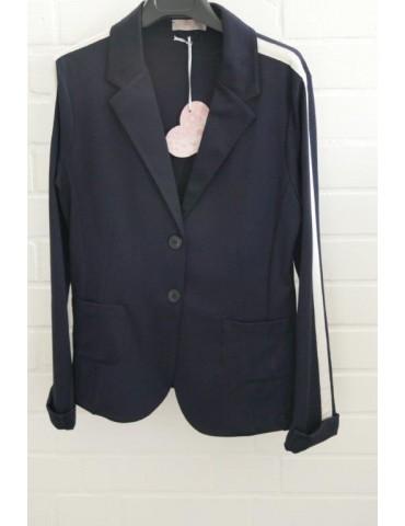 ESViViD Bequemer Sportlicher Jersey Blazer tailliert dunkelblau creme Streifen
