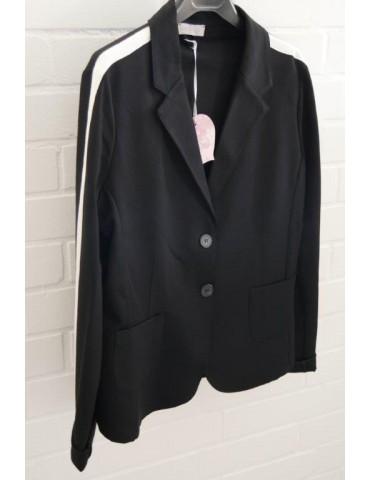 ESViViD Bequemer Sportlicher Jersey Blazer tailliert schwarz creme Streifen