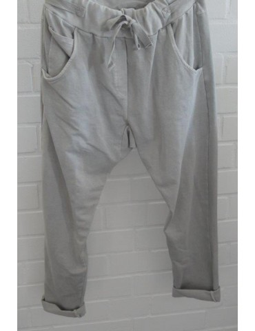Jogginghose JogPants Damenhose Hose hellgrau grau verwaschen mit Verstellband