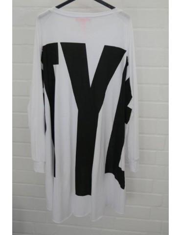 """XXXL Big Size T- Shirt langarm weiß schwarz """"Style"""" Baumwolle Onesize 38 - 50"""