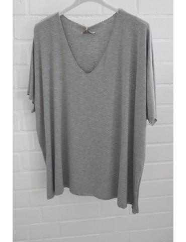 Damen Basic Shirt kurzarm hellgrau meliert uni mit Viskose Onesize ca. 38 - 46
