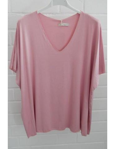 Damen Basic Shirt kurzarm rose rosa uni mit Viskose Onesize ca. 38 - 46