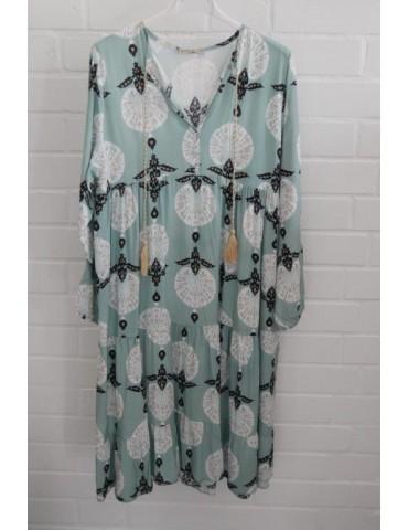 Damen Tunika Kleid A-Form mint weiß schwarz beige Muster Onesize ca. 38 - 42