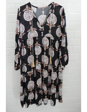 Damen Tunika Kleid A-Form schwarz weiß beige orange Muster Onesize ca. 38 - 42
