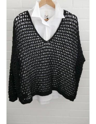 ESViViD Damen Pullover Lochmuster schwarz black Onesize ca. 38 - 46 mit Baumwolle 3077