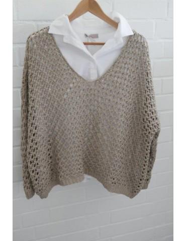 ESViViD Damen Pullover Lochmuster beige sand Onesize ca. 38 - 46 mit Baumwolle 3077